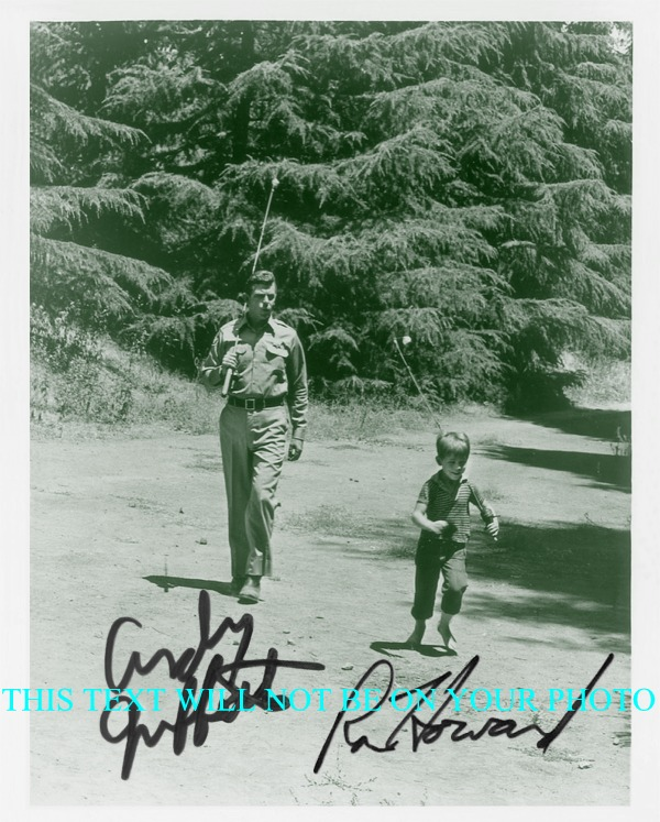 ANDY GRIFFITH AND RON HOWARD AUTOGRAPHED PHOTO, ANDY GRIFFITH AND RON HOWARD SIGNED 8x10 PHOTO, SHOW