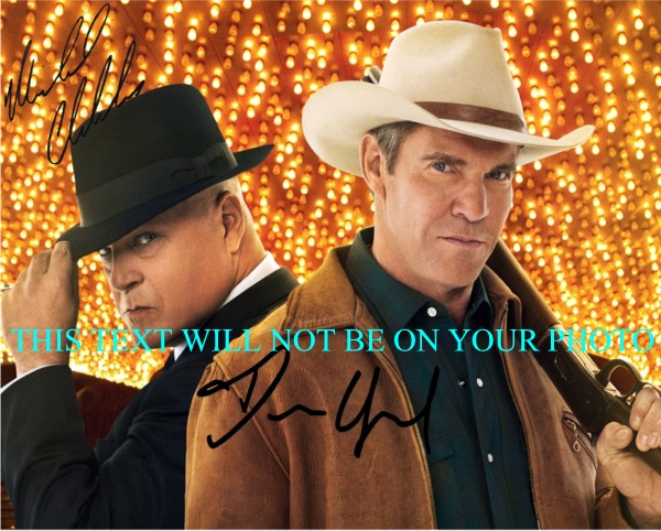VEGAS AUTOGRAPHED PHOTO DENNIS QUAID MICHAEL CHIKLIS, MICHAEL CHIKLIS AND DENNIS QUAID SIGNED 8x10