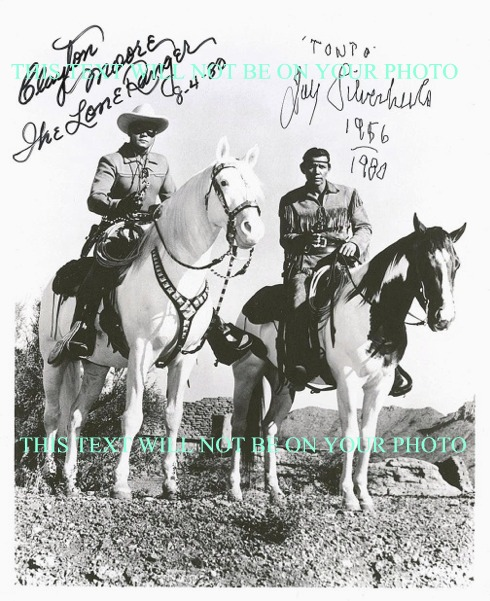 THE LONE RANGER CAST CLAYTON MOORE AND JAY SILVERHEELS AUTOGRAPHED 8x10 PHOTO